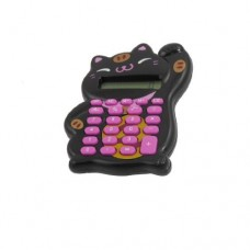 Dimart Lucky Cat Design Button Battery Power 8 Digits Calculator, Black
