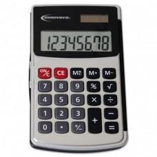 Handheld Calculator Hard Flip Case 8-Digit Lcd Dual Power Silver