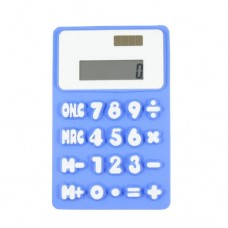Blue White 8 Digit 20 Button Soft Silicone Flexible Calculator