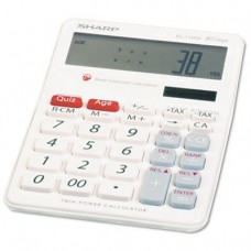 "Sharp EL-T100AB Brain Exerciser Calculator - 10 Line(s) - Solar Powered - 1.25"" x 3.9"" x 6"""