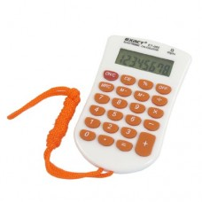 School Office Plastic LCD Display 8 Digit Electric Calculator Orange White w Strap