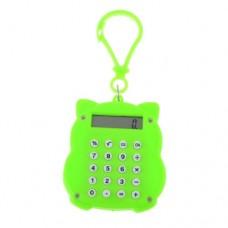 Maneki Neko Design Bright Green 8 Digits Lobster Clasp Mini Calculator