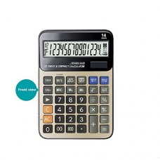 Calculator , Professional Desk Standard Tax Calculator Financial Office/Business/ Scientific Calculators with 14-digit Large Display Calculator Solar and AA Battery Dual Power Gold
