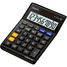Casio MS 100TERII Euro Desk Calculator 10 Digits Extra Big LCD Display, Black