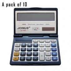 Pack of 10, JOINUS JS-755 Dual Power Executive Foldable Style 12 Digit basic Calculator
