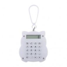 White Maneki Neko Design 8 Digits LCD Mini Calculator w Lobster Clasp
