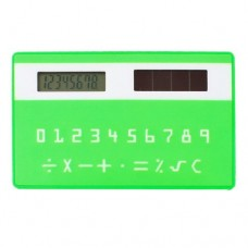School Student Arabic Number Card Shape Solar Powered Pocket Calculator Green