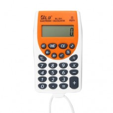 LCD Display 8 Digits Electronic Calculator White w Cord