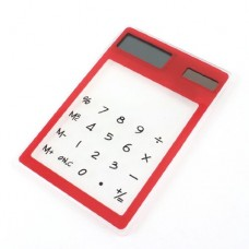 Household 8 Digital Display Solar Powered Hard Plastic Calculator Red Clear