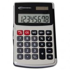 Innovera Handheld Calculator, Hard Flip Case, 8-Digit LCD, Dual Power, Silver