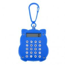 Portable Keyring Adorn Maneki Neko Shape 8 Digits Mini Blue Calculator