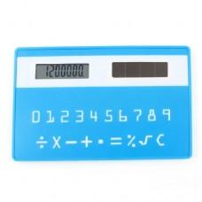 Teal Blue Plastic Card Style 8 Digital LCD Display Solar Power Pocket Calculator