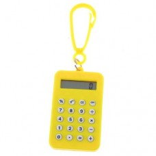 Yellow Rectangle Battery Powered Lobster Clasp Mini Pocket Calculator