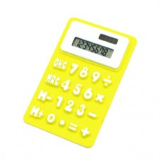"4.1"" Long Yellow White Soft Silicone 8 Digits Calculator for Student"