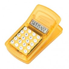 Dimart Portable Yellow Plastic LCD Display 8 Digits Mini Clip Calculator Counter