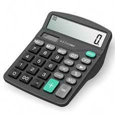 Calculator, Vilcome Standard Function Desktop Calculator 12 Digit Large Display, Solar Battery LCD Display Office Calculator