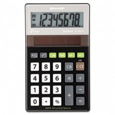 Sharp Electronics ELR277BBK 8-Digit Recycled Plastic Cabinet Calculator - Black