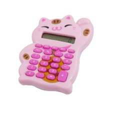 Dimart Lucky Cat Design Button Battery Power 8 Digits Calculator, Pink