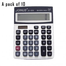Pack of 10, JOINUS JS-839 Dual Power 12 Digit Calculator