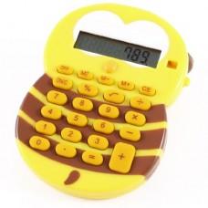 Yellow Coffee Color 24 Keypad Cartoon Design Hand Electronic Calculator for Kids
