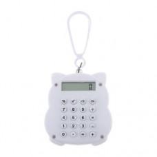 Dimart White Maneki Neko Design 8 Digits LCD Mini Calculator w Lobster Clasp