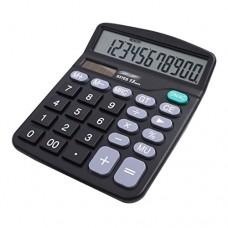 CLARA 12-Digit Large LCD Display Calculator Solar Battery Dual Power Office Calculator Large Buttons Calculator Black