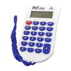Dimart Neck String 23 Rubber Keys 8 Digit Pocket Calculator, Blue/White
