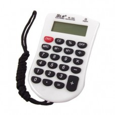 Compact 8 Digit Electronic Calculator White Black w Neck Lanyard