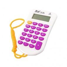 Rubber Keys 8 Digit Mini Calculator White Purple w Neck Lanyard