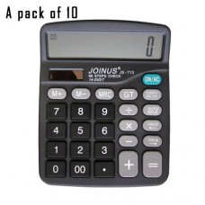 Pack of 10, JOINUS JS-713 Dual Power 14 Digit Calculator