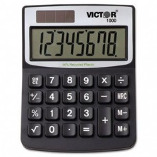 ** 1000 Minidesk Calculator, Solar/Battery, 8-Digit Display, Black **