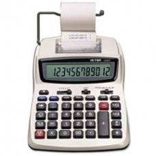 * 1208-2 Two-Color Compact Printing Calculator, 12-Digit LCD, Black/Red