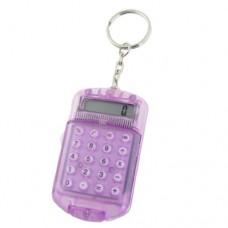 Battery Powered 8 Digits LCD Mini Calculator Clear Purple w Keyring