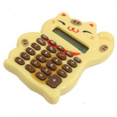 Dimart Wheat Lucky Cat Shaped 8 Digits LCD Display Electronic Calculator