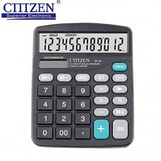 X-group 12 Digit Desk Calculator Large Buttons Solar Desktop Calculator for School Home Office - Battery Included(Black)