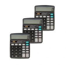 Pack of 3, JOINUS JS-772 Dual Power 12 Digit Calculator