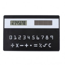 Black Plastic Shell 8 Digits LCD Display Solar Calculator