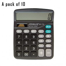 Pack of 10, JOINUS JS-772 Dual Power 12 Digit Calculator