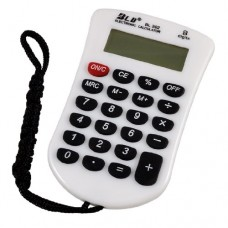 Students Black White Keys 23 Rubber Keys LCD Mini Calculator w Neck Strap