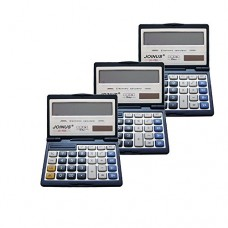 Pack of 3, JOINUS JS-755 Dual Power Executive Foldable Style 12 Digit basic Calculator