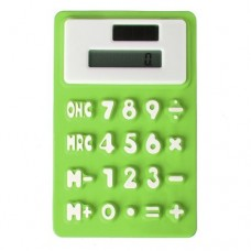 SODIAL(R) Creative Solar Power 8 Digit Silicone Pocket Calculator Green Office Stationery