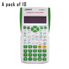 Pack of 10, JOINUS JS-82MS-3 10 Digit And 2-Line Scientific Calculator-White