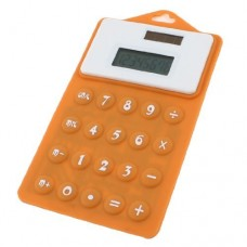 Dimart Soft Silicone 8 Digital Display Solar Powered Calculator, Orange/White