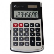 Innovera Handheld Calculator, Hard Flip Case, 8-Digit LCD, Dual Power, Silver