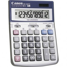 """Canon HS-1200TS 12-Digit Angled Display Calculator - 12 Character(s) - LCD - Battery/Solar Powered - 1.4"""" x 4.8"""" x 6.7"""" - Black, White"""