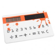 Household Flat Touch Sensor Solar Power Pocket Calculator Orange White