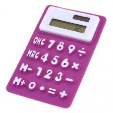 Dimart Purple White Soft Silicone 8 Digit LCD Display Electronic Calculator