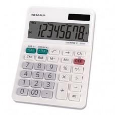 "Sharp EL-310WB Mini Desktop Calculator, 8 Digit Angled Display, White, 3.38"" x 4.75"" x 1.0"""